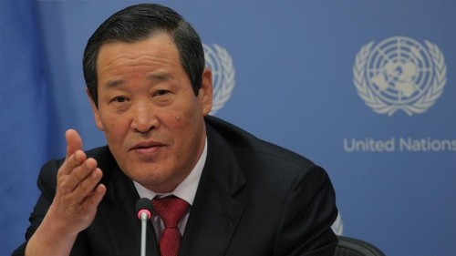 At rare UN news conference, North Korea warns US over seized ship