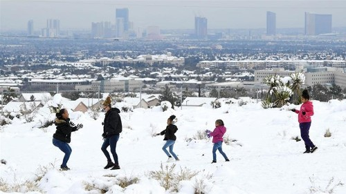 Rare snow blankets the desert city of Las Vegas