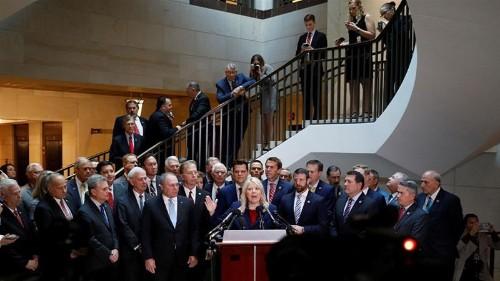 Republican politicians disrupt Trump impeachment inquiry