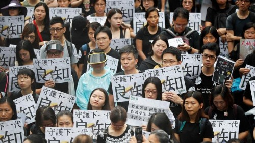 'Protect the students': Hong Kong teachers join protests