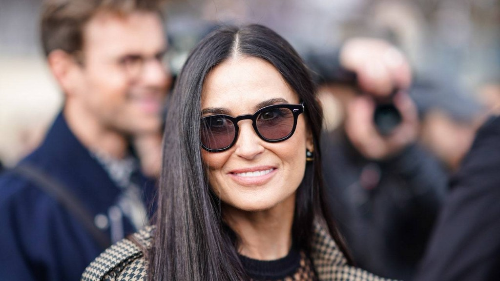 Demi Moore's Hair Is So Long, It Rests on the Table She's Standing Next To
