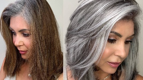 A Colorist Explains How He Created This Low-Maintenance Gray Hair Transformation