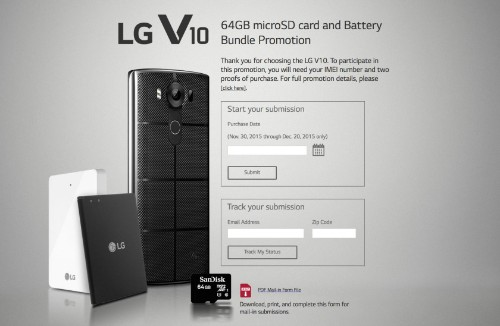LG V10 promotion: free 64GB microSD, spare battery, and charging cradle
