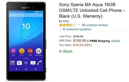 Sony Xperia M4 Aqua price cut to $200 at Amazon US
