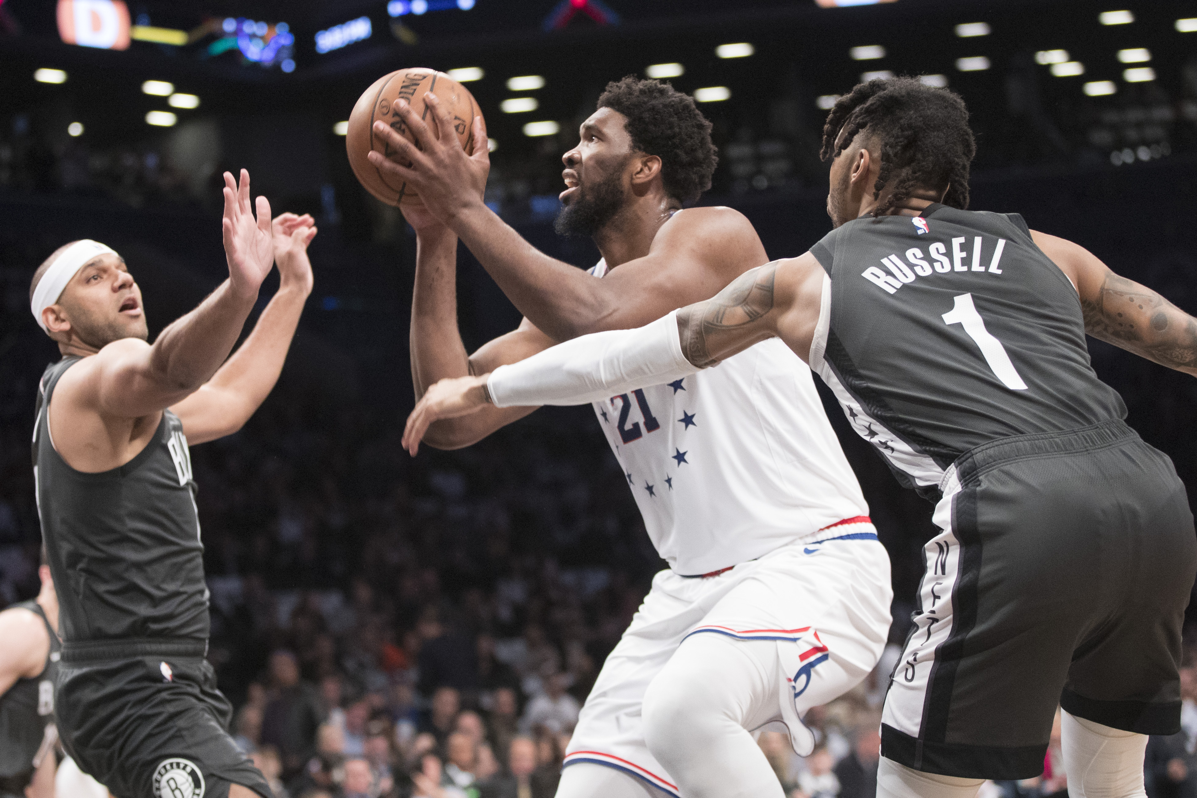 Embiid returns, leads 76ers past Nets 112-108 for 3-1 lead