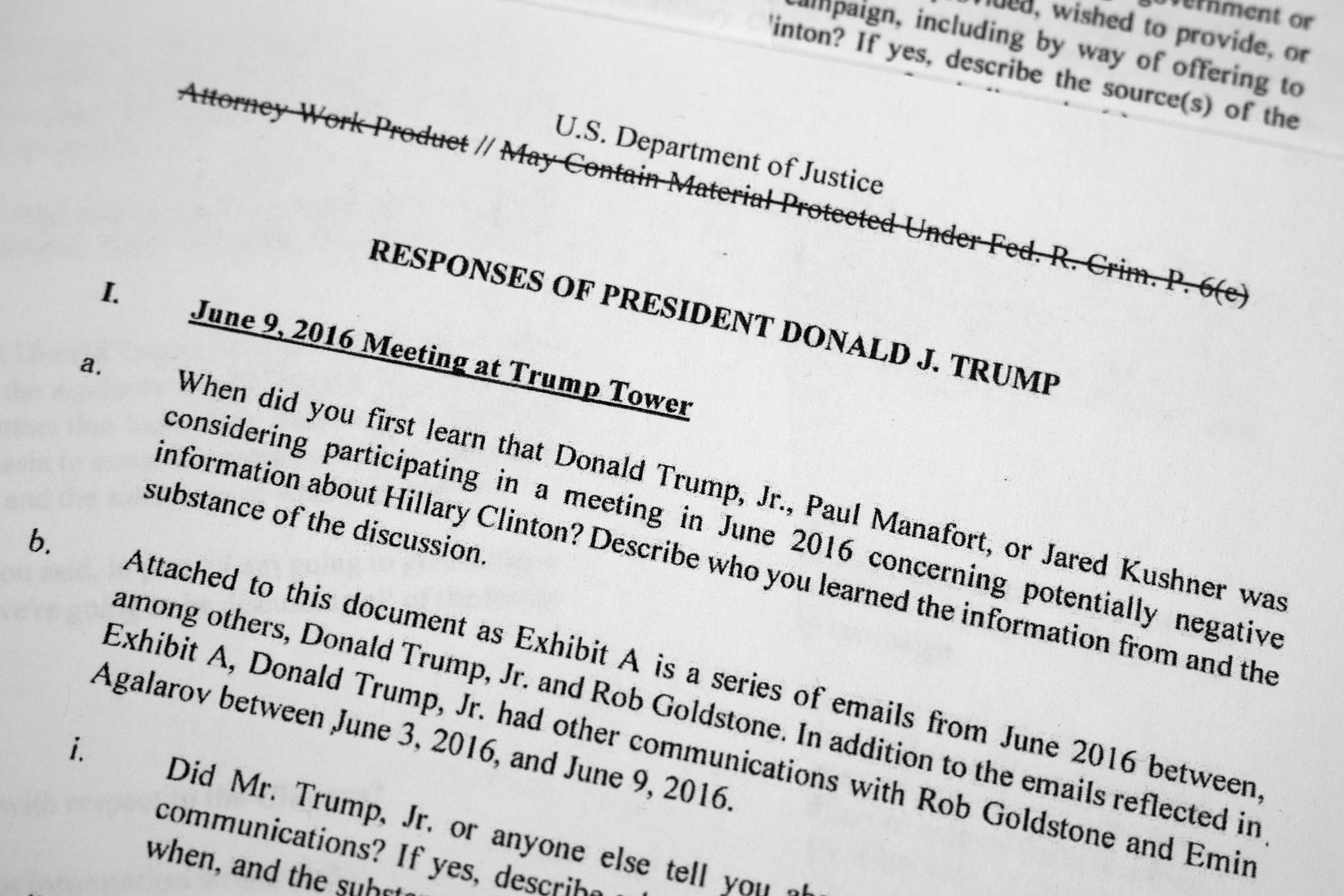 Full text of Mueller's questions and Trump's answers