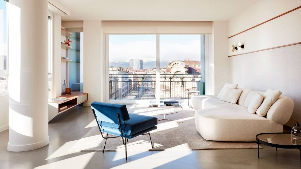 Blue Is the Common Thread Throughout This High-Rise Apartment in Turin, Italy