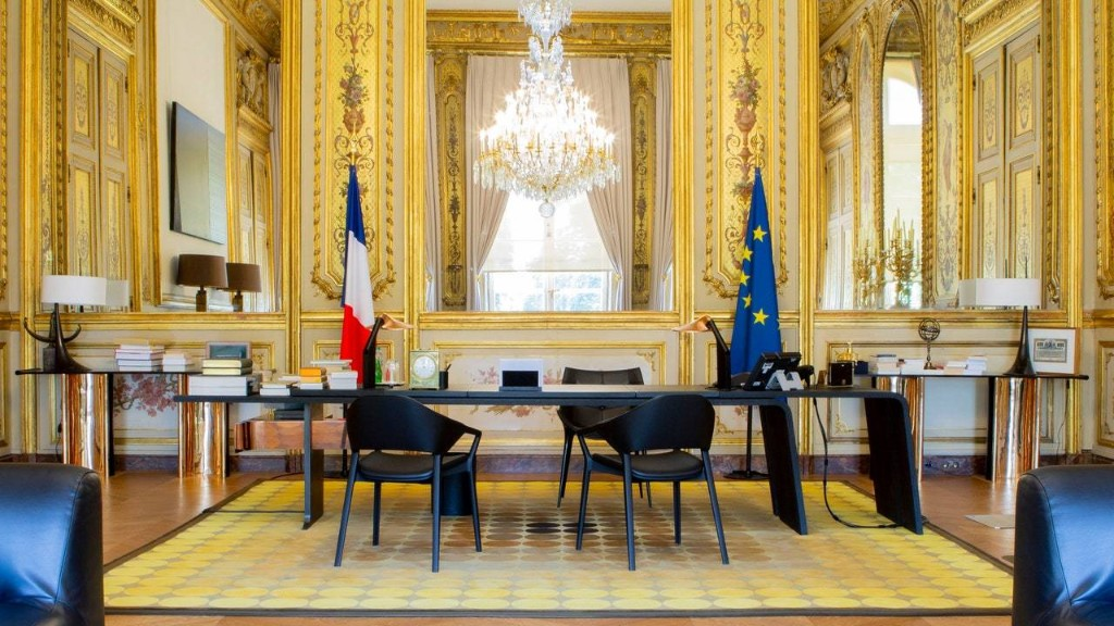 Tour French President Macron's Chic Elysée Palace Office Refresh