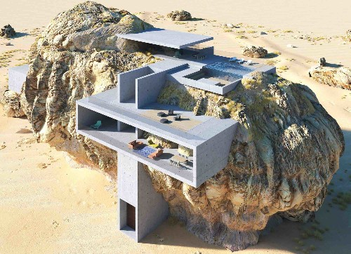 This Ultra-Minimalist Concrete Residence Is Carved Into Solid Rock