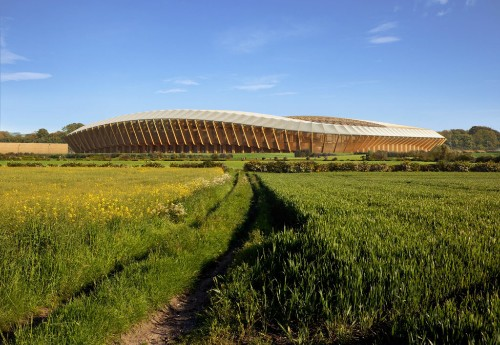 Zaha Hadid Architects Wins Approval for the World's First All-Timber Soccer Stadium