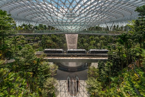 Watch the World's Tallest Indoor Waterfall Flow in Singapore