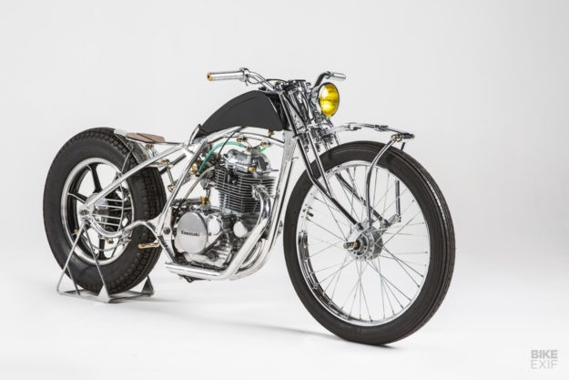 A Kawasaki bobber rises from the weeds