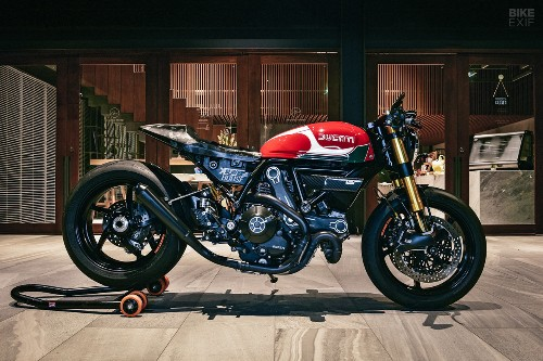A Scrambler Ducati 800 upgraded by a Honda designer