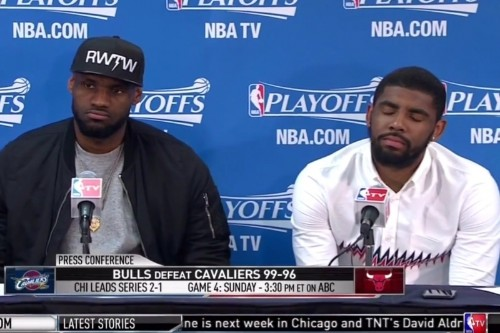 LeBron Answers Question About Kyrie Irving's Zero Assists with Kyrie Next to Him