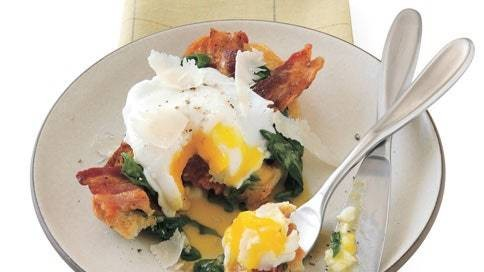 Poached Egg Crostone with Wilted Spinach and Bacon