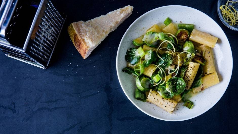 Rigatoni with Brussels Sprouts, Parmesan, Lemon, and Leek