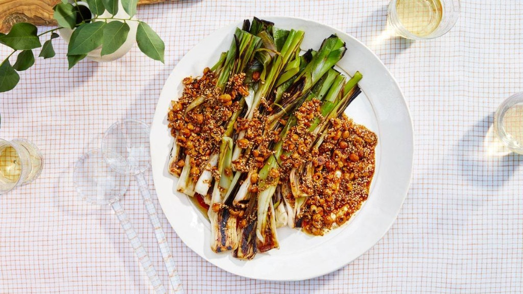 Grilled Leeks With Brown Butter and Spiced Hazelnuts
