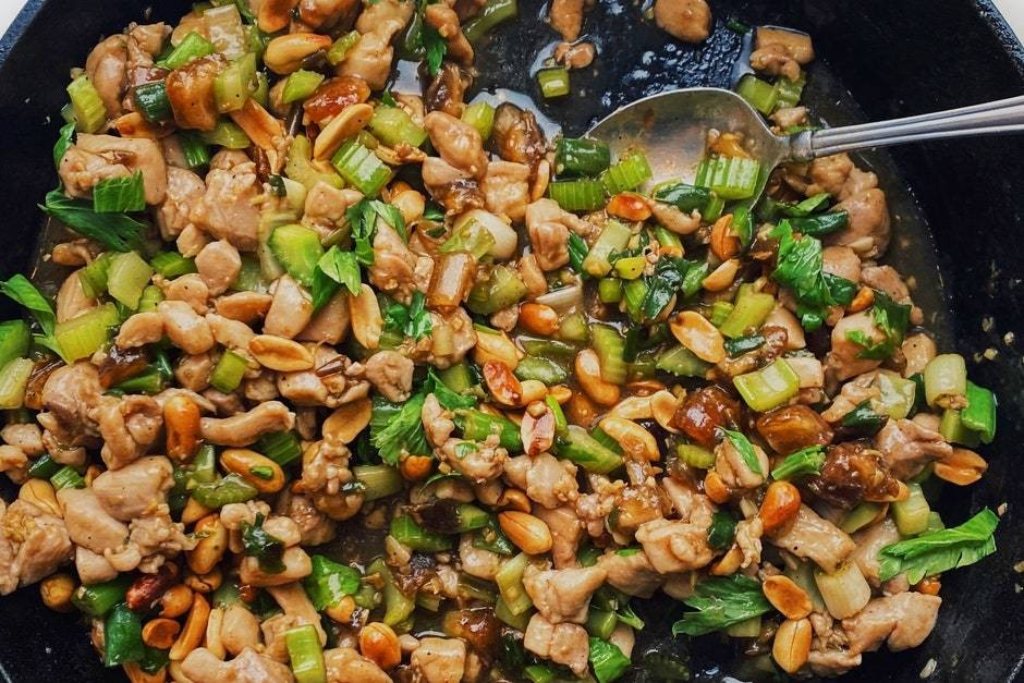 Spicy Chicken Stir-Fry With Celery and Peanuts