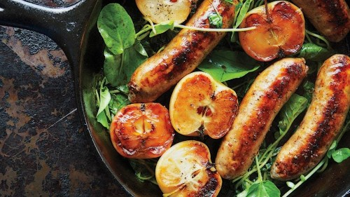 Pan-Seared Sausage with Lady Apples and Watercress