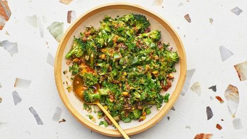 Broccoli Spoon Salad With Warm Vinaigrette