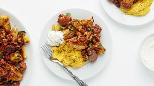 Rent Week Crispy Potato Hash With Spicy Sausage