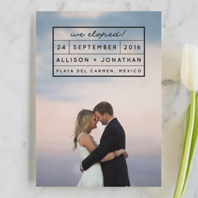 The 22 Best Elopement Announcements To Spread the News