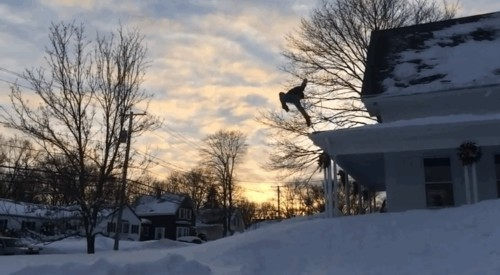 Insane videos of people in Boston endangering their lives by jumping out of windows into snow banks