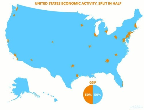 Half Of US GDP Comes From The Orange Spots On This Map