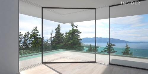 Designers created a sliding glass door that can turn around corners