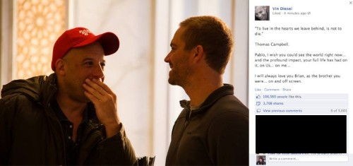 Vin Diesel Breaks Silence On Paul Walker's Death In Poignant Facebook Message