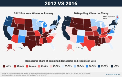 The 2016 electoral map looks very similar to 2012 — but already a few big differences are forming
