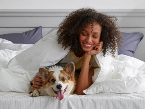 Brooklinen's down alternative comforter is just as good as its sheets — it's like sleeping under a cloud