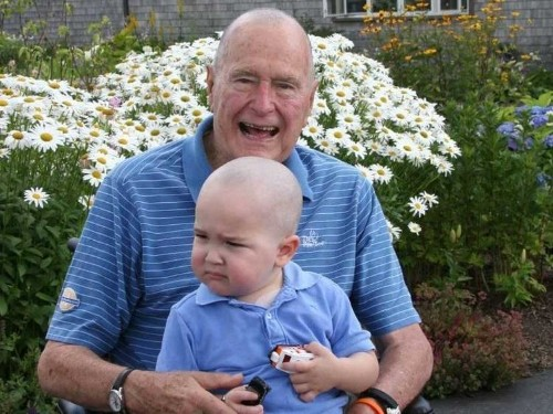 Ex-President George Bush Shaved His Head For A Little Boy With Leukemia