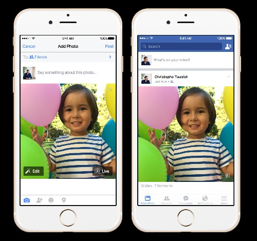 Facebook app adds iPhone Live Photos