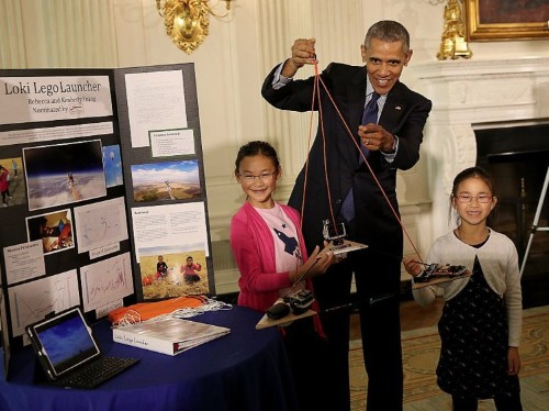 12 photos of Obama discovering his inner child at the White House science fair