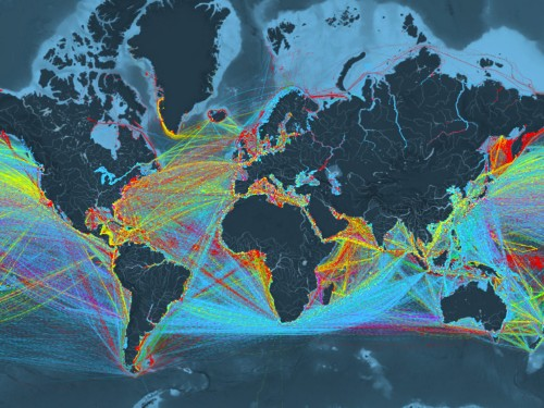 This amazing visualisation shows how the world's ships move goods around the globe