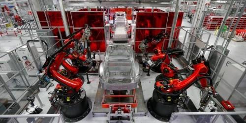 A rare look inside Tesla's electric car factory