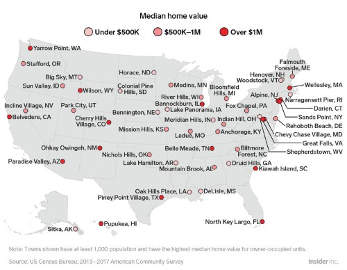 Here's the town with the most valuable homes in every state