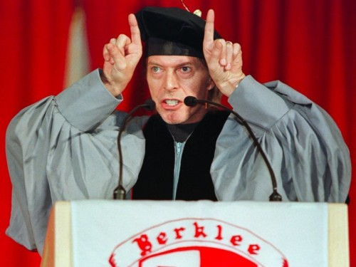 15 years ago, David Bowie turned up at Berklee to give the commencement speech — and it was hilarious