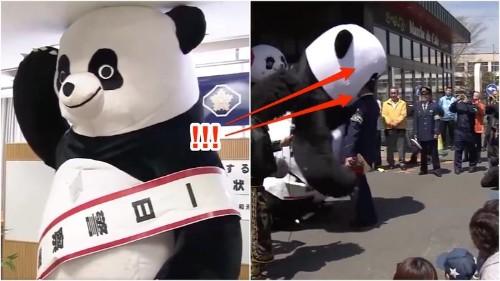 VIDEO: 10 ft. pro wrestling panda headbutts police officers in Japan