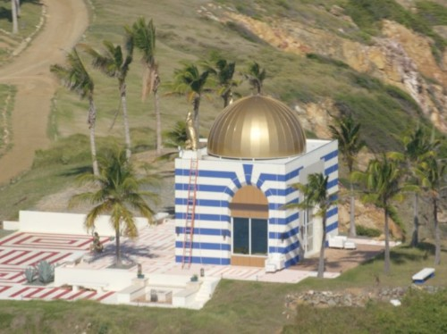 Why did Jeffrey Epstein build a temple on his private island?