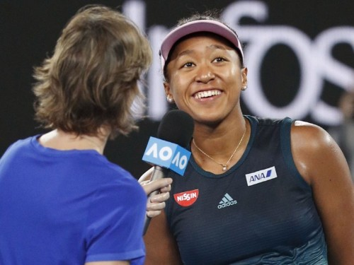 Naomi Osaka blasted through to the Australian Open final, sent a message to her fans in Japanese, then said: 'I'm going to go to sleep'