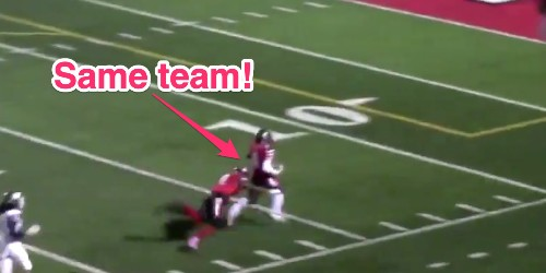 VIDEO: High school football player tackles teammate running the wrong way - Business Insider