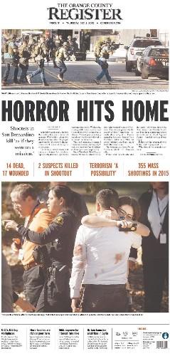 'HORROR HITS HOME': California newspapers react to mass shooting