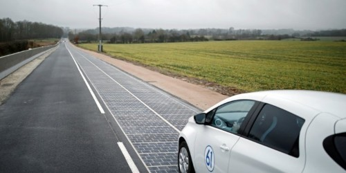Photos show world's first solar road in France that completely failed