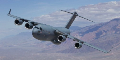 Awesome video shows a C-17 Globemaster zipping through 'Star Wars Canyon' at low altitude