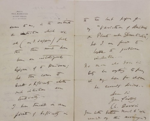 A private letter from Darwin detailing his doubts about God just sold at auction for $125,000 — here's what he wrote