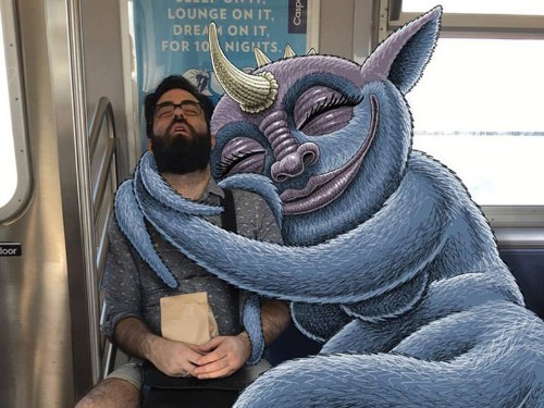 Subway Doodle draws monsters next to unsuspecting subway riders in NYC - Business Insider