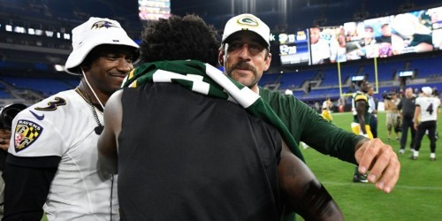 Aaron Rodgers offered Lamar Jackson advice on his running after TD