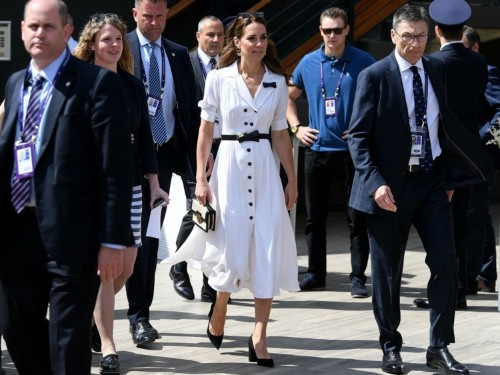 Kate Middleton channeled Wimbledon's iconic all-white dress code for a day at the tennis
